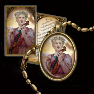 St. Cecilia Pendant & Holy Card Gift Set