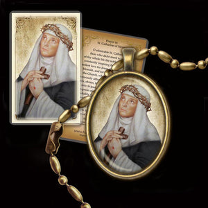 St. Catherine of Siena Pendant & Holy Card Gift Set