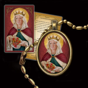 St. Elizabeth of Hungry Pendant & Holy Card Gift Set