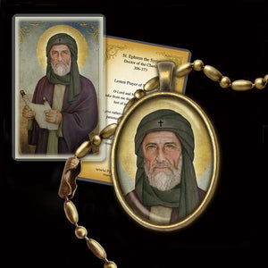 St. Ephrem the Syrian Pendant & Holy Card Gift Set