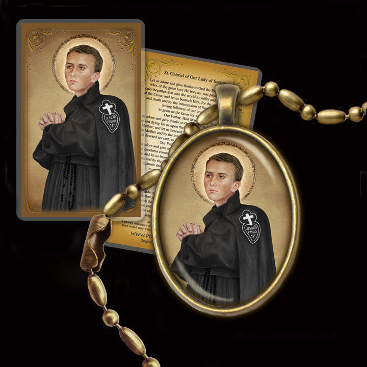 St. Gabriel of Our Lady of Sorrows Pendant & Holy Card Gift Set