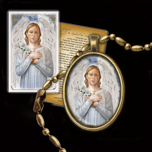St. Gabriel the Archangel Pendant & Holy Card Gift Set