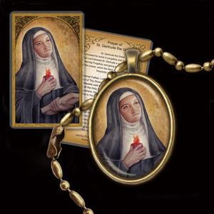 St. Gertrude the Great Pendant & Holy Card Gift Set