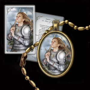 St. Joan of Arc Pendant & Holy Card Gift Set