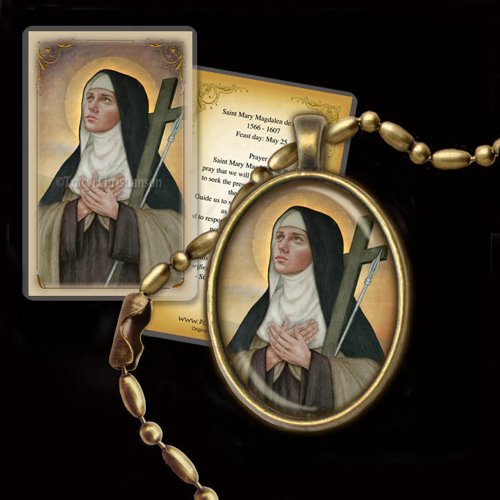 St. Mary Magdalen de Pazzi Pendant & Holy Card Gift Set