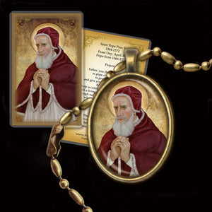Pope St. Pius V Pendant & Holy Card Gift Set