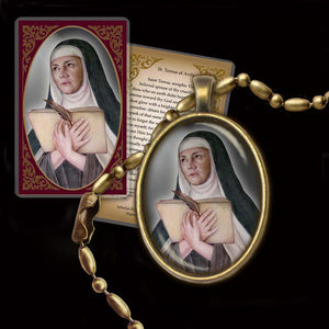 St. Teresa of Avila Pendant & Holy Card Gift Set