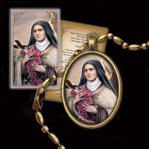 St. Therese of Lisieux (C) Pendant & Holy Card Gift Set