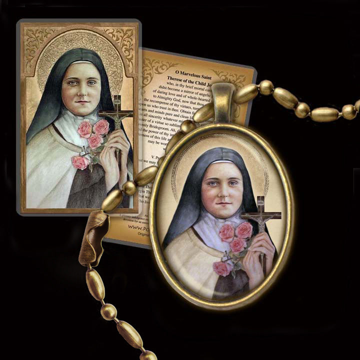 St. Therese of Lisieux (A) Pendant & Holy Card Gift Set