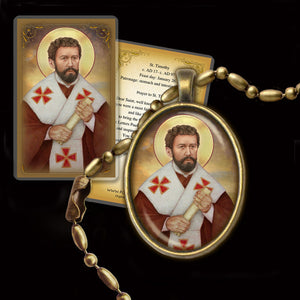 St. Timothy Pendant & Holy Card Gift Set
