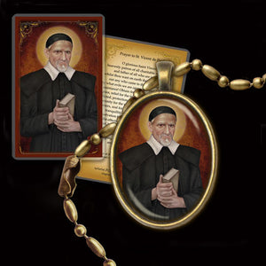 St. Vincent de Paul Pendant & Holy Card Gift Set