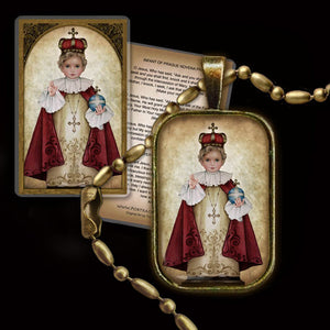 The Infant of Prague Pendant & Holy Card Gift Set