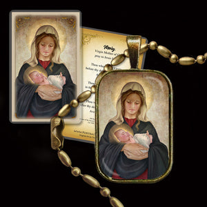 Madonna & Child (K) Pendant & Holy Card Gift Set