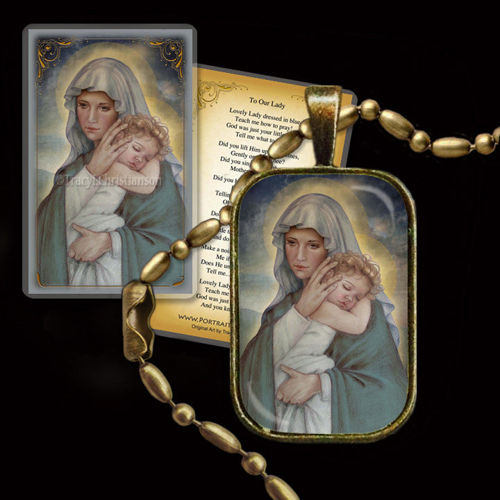 Madonna and Child (J) Pendant & Holy Card Gift Set