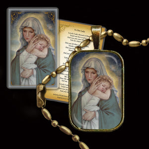 Madonna & Child (J) Pendant & Holy Card Gift Set
