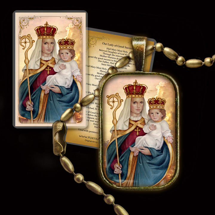 Our Lady of Good Success Pendant & Holy Card Gift Set
