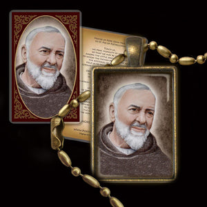 St. Padre Pio Pendant & Holy Card Gift Set