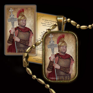 St. Adrian of Nicomedia Pendant & Holy Card Gift Set