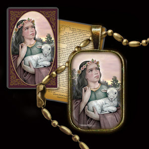 St. Agnes of Rome Pendant & Holy Card Gift Set
