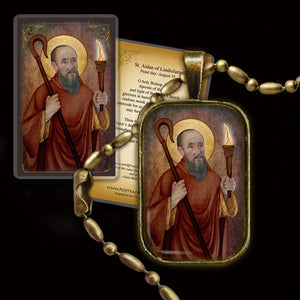 St. Aidan of Lindisfarne Pendant & Holy Card Gift Set