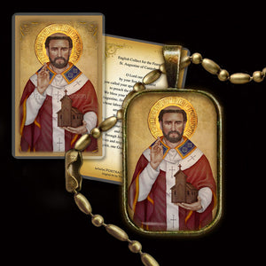 St. Augustine of Canterbury Pendant & Holy Card Gift Set