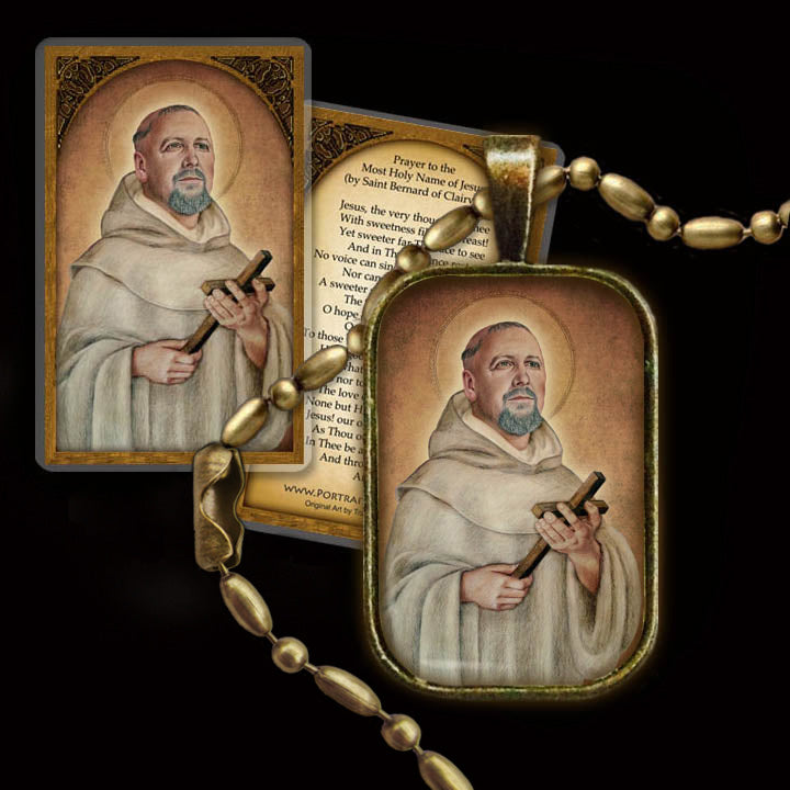 St. Bernard of Clairvaux Pendant & Holy Card Gift Set