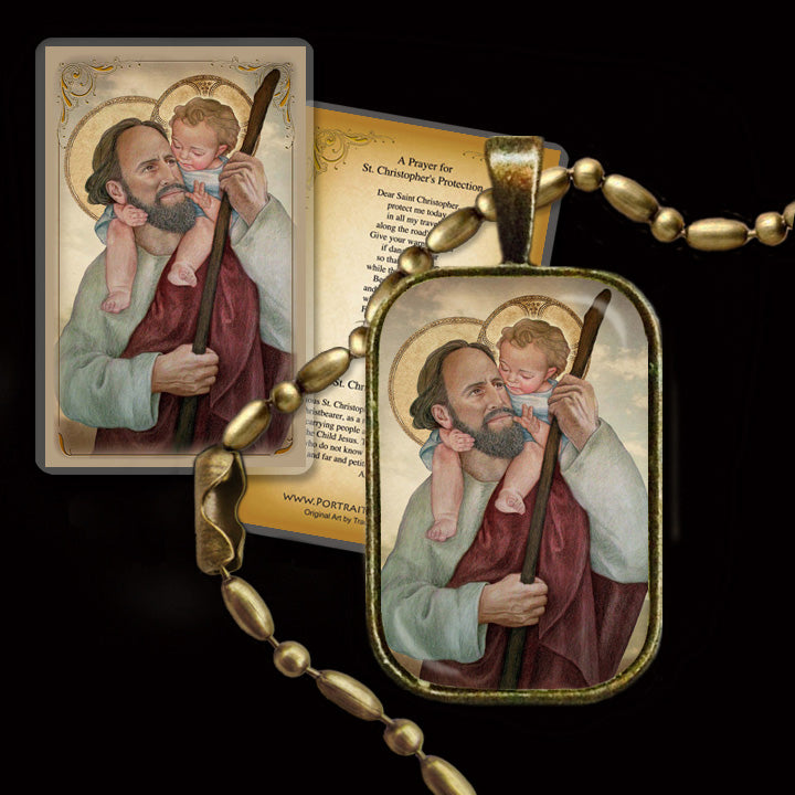 St Christopher Pendant & Holy Card Gift Set