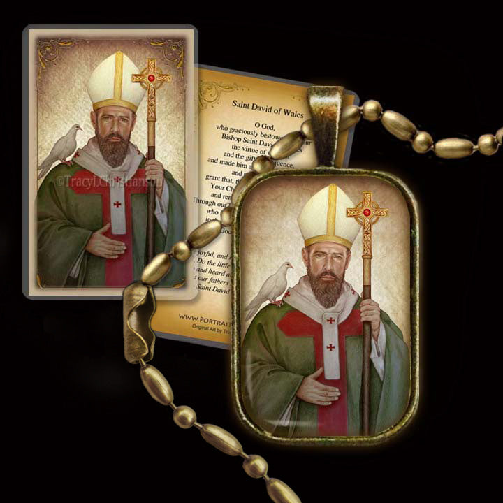 St. David of Wales Pendant & Holy Card Gift Set
