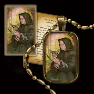 St. Giles Pendant & Holy Card Gift Set
