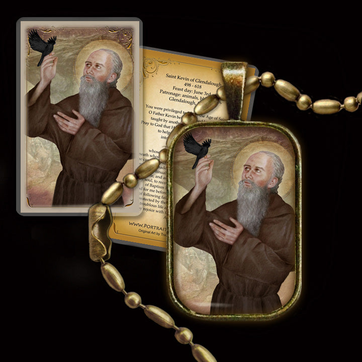 St. Kevin of Glendalough Pendant & Holy Card Gift Set