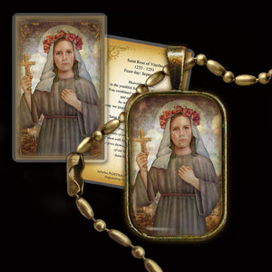 St. Rose of Viterbo Pendant & Holy Card Gift Set