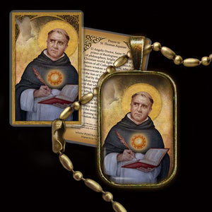 St. Thomas Aquinas Pendant & Holy Card Gift Set