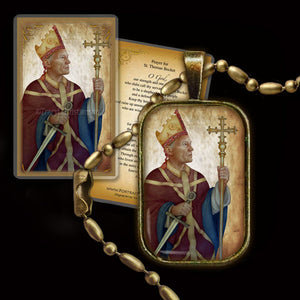 St. Thomas Becket Pendant & Holy Card Gift Set