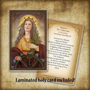 St. Catherine of Alexandria Pendant & Holy Card Gift Set