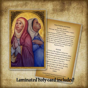 Sts. Perpetua and Felicity Pendant & Holy Card Gift Set
