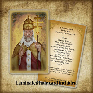 St. Leo the Great Pendant & Holy Card Gift Set