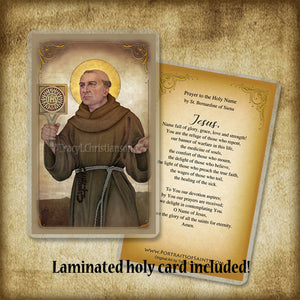 St. Bernardine of Siena Pendant & Holy Card Gift Set