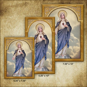 Immaculate Heart (full-length) Plaque & Holy Card Gift Set