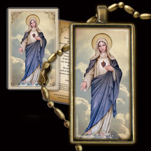Immaculate Heart (full-length) Pendant & Holy Card Gift Set