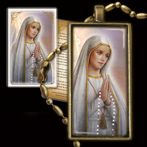 Our Lady of Fatima Pendant & Holy Card Gift Set