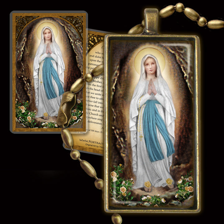 Our Lady of Lourdes Pendant & Holy Card Gift Set