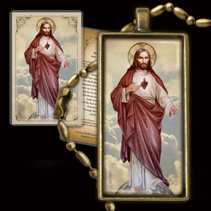 Sacred Heart of Jesus (full-length) Pendant & Holy Card Gift Set