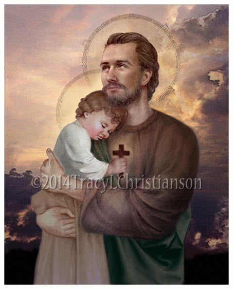St. Joseph and Baby Jesus Print