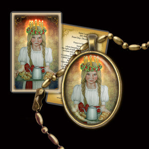 St. Lucia Pendant & Holy Card Gift Set