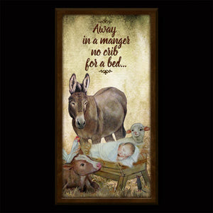 Baby Jesus and Animals Inspirational Plaque