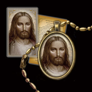 Face of Christ Pendant & Holy Card Gift Set