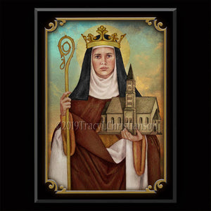 St. Hilda of Whitby Plaque & Holy Card Gift Set