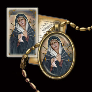 Seven Sorrows of Our Lady  Pendant & Holy Card Gift Set