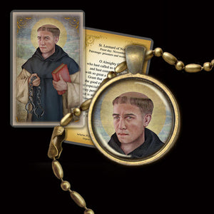 St. Leonard of Noblac Pendant & Holy Card Gift Set