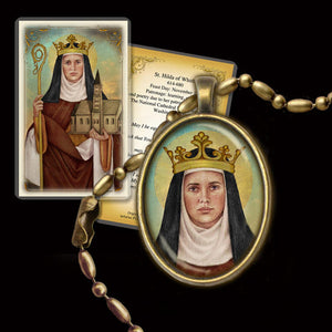 St. Hilda of Whitby Pendant & Holy Card Gift Set